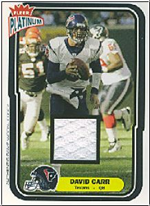 NFL 2004 Fleer Platinum Jerseys - No 130 - David Carr