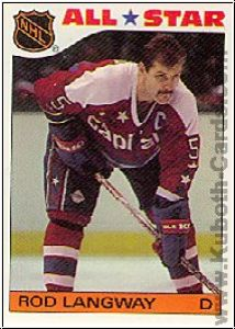 NHL 1985 / 86 Topps Sticker Inserts - No 10 - Rod Langway
